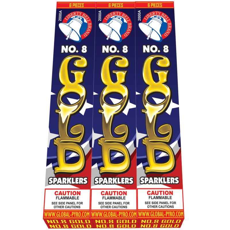#8 GOLD SPARKLERS (WIRE) 6/6's