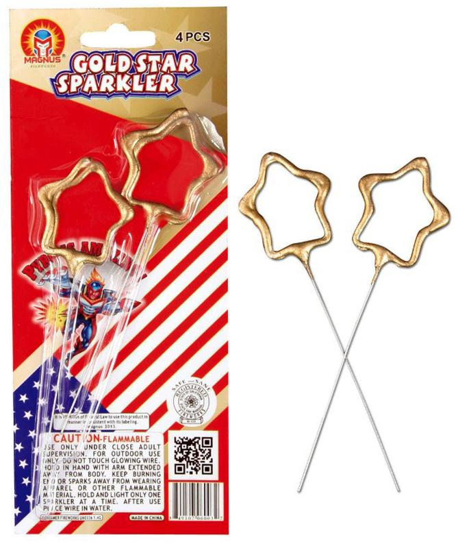 GOLD STAR SPARKLERS (WIRE) 4's